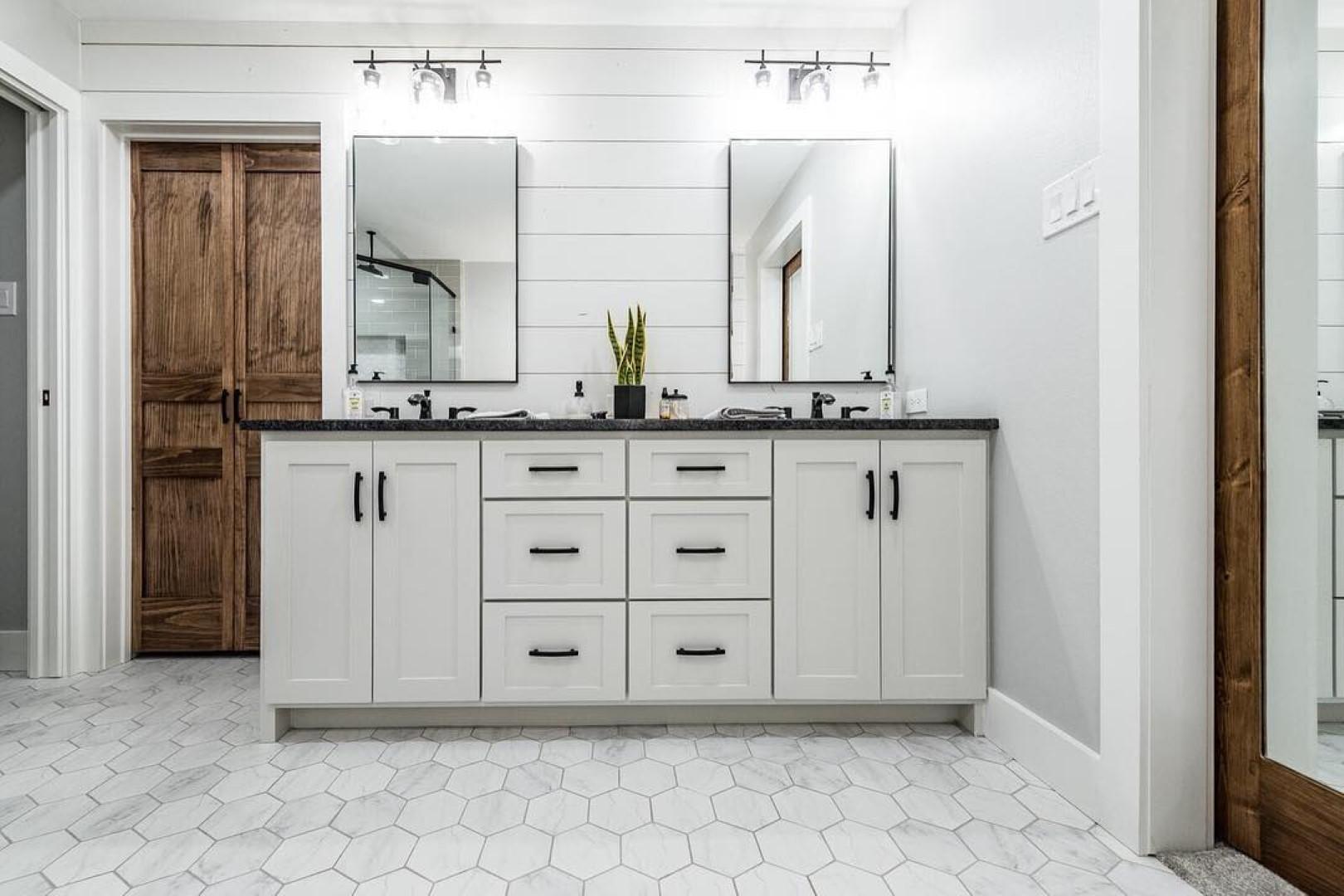 White + Black + Walnut Bathroom Remodel Ideas