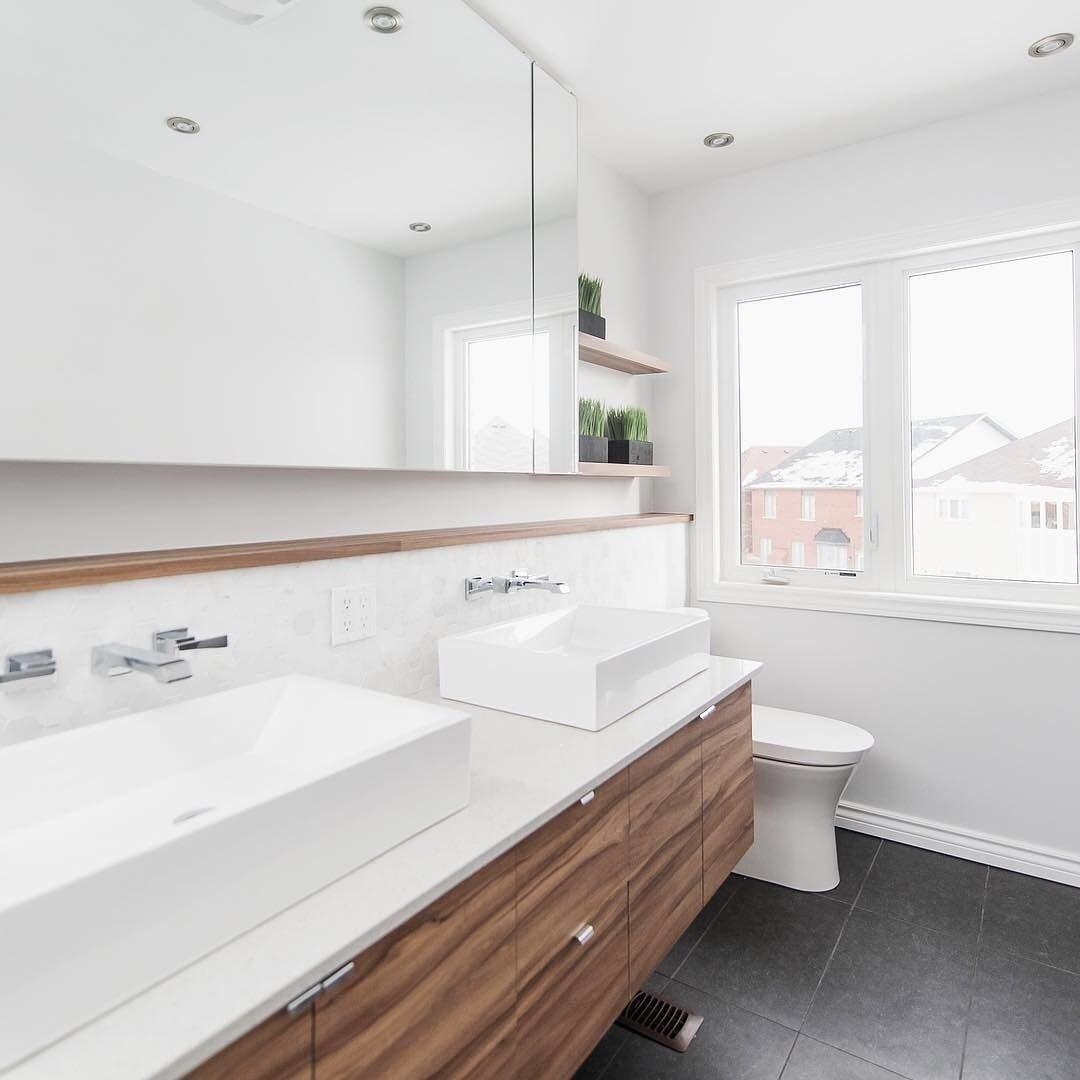 walnut and white Bathroom Remodel Ideas