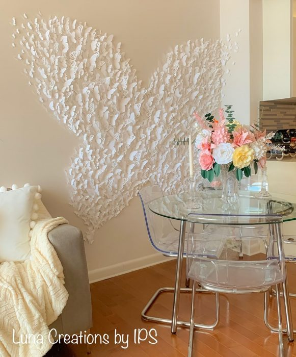 Butterfly cut outs glued to the wall | Wall Decor Ideas