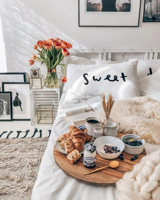 Breakfast in Sweet bed | Bedroom Decor Ideas