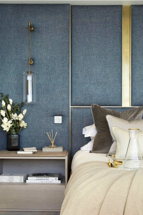 fabric headboard with brass details Mind Blowing Dreamy DIY Headboard Ideas
